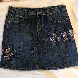 Vintage Baccini Denim Skirt w/ Embroidery